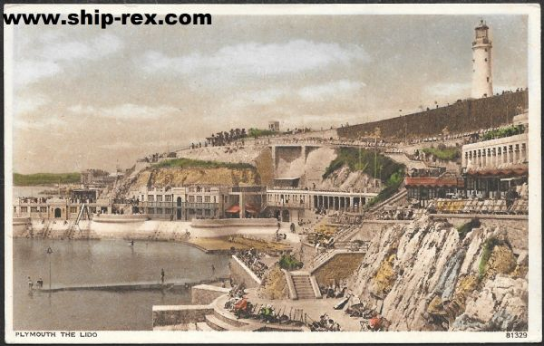 Plymouth, The Lido and Lighthouse - old Photochrom postcard